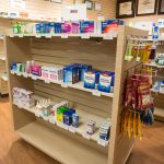 Pharmacy products on shelves
